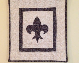 Fleur De Lis Hand Quilted Wall Hanging
