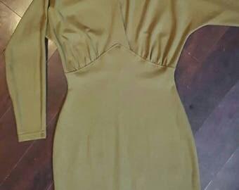 "OLIVE GARDEN 1980's ""Jappa"" Long sleeve knee length dress deep-v. Medium (see measurements)"