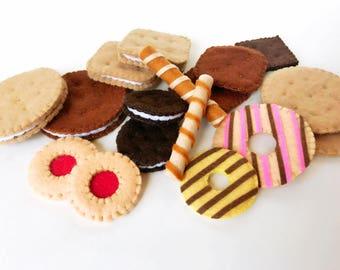 Felt cookies, felt cookies set, felt food, tea party food, pretend play