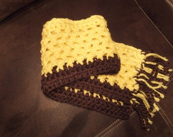 Brown and Yellow Fringe Scarf