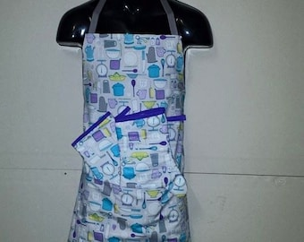 Adult apron & Oven mitts set
