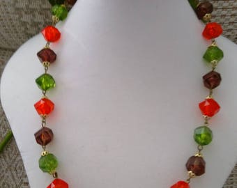 Vibrant Vintage Bead Necklace.   Now Reduced