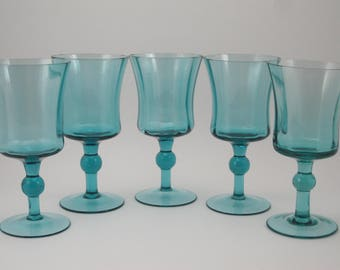 Vintage Wine Glasses Set of 5