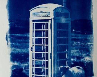 Mull phonebox, Scotland, cyanotype print