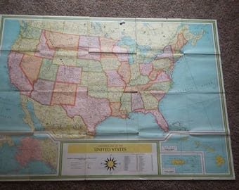 Vintage 1960's Map of the United States