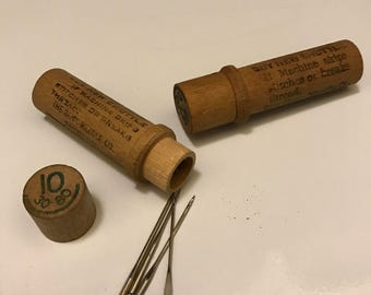 Vintage Sewing Machine Needles with Wooden Case