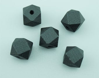 30pcs 12mm Black Wood Beads,Faceted Wooden Beads,Wooden Beads,Octagonal Wood Beads MZ009