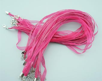 50pcs 16-18 Inches Rose Ribbon Necklace Cords Chains For DIY Jewelry S018