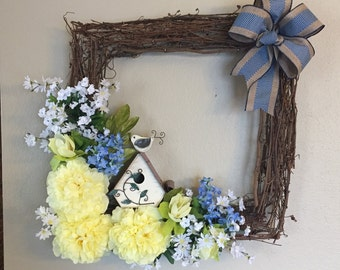 Square Grapevine Wreath with birdhouse and flower options