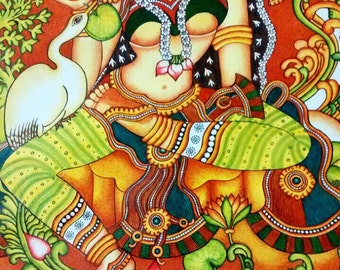 Kerala Mural Painting - Indian Goddess with Swan