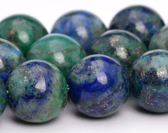 "8MM Azurite Natural Gemstone Half Strand Round Loose Beads 7.5"" (101114h-321)"
