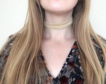 Gold Ornate Woven Choker Necklace