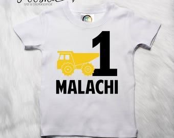 Construction Birthday Outfit, Dump Truck Shirt, Birthday Boy Shirt, 1st Birthday Boy, I'm One Shirt, Birthday T-Shirt, Construction P89