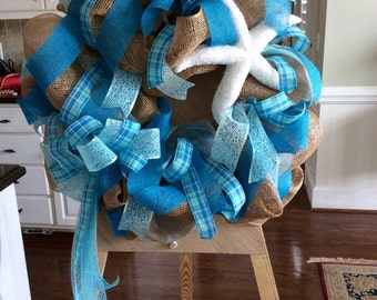 Beach Burlap wreath. Beachy, turquoise burlap wreath with starfish, Beach themed wreath