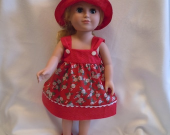 Red and white sundress with reversible hat.  Fits like American Girl doll clothes, 18 inch doll clothes, AG doll clothes, doll clothes