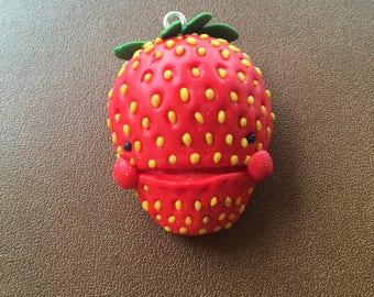 Strawberry keychain- polymer clay