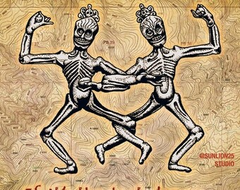 "SKELETONS DANCING: ""If it's the last dance…"" Art Print, 6x6 image in 8x10 mat"