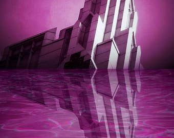 Purple building in reflection