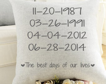 Best Days Of Our Lives Pillow- Personalized Pillow, Imporatant Dates, Wedding gift, Anniversary Gift, Housewarming Gift, Family Dates Pillow