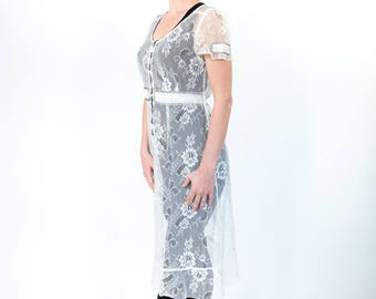 Vintage White Lace Dress with Black Cross Stitching
