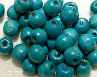 10 mm Blue Wooden Beads, 20 Beads of 10 mm