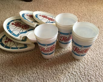 Vintage PEPSI-COLA COLLECTIBLE  Trays & Glasses Set of 8