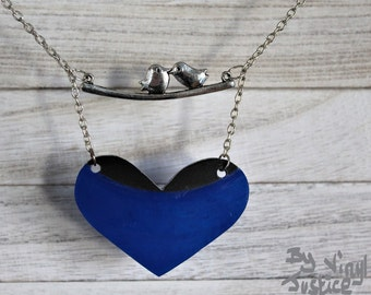 Blue heart with birds, upcycled record necklace