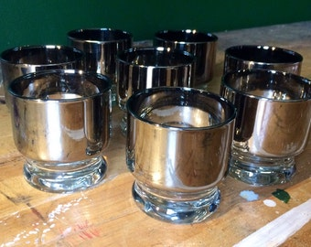 Vintage Mid Century Silver / Mercury Glass Stackable Lowball Glasses Mad Men Dorothy Thorpe Don Draper Low Ball