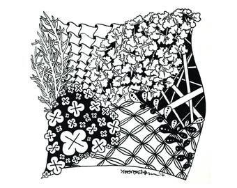 Garden of Eden - Hand-drawn zentanglle art on paper