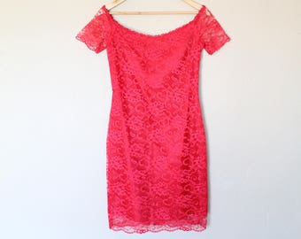1980s Red Lace Party Dress
