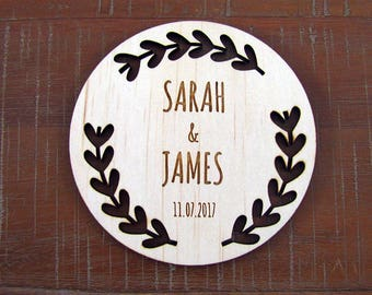 WOODEN WEDDING COASTER, personalised wooden coasters for your wedding
