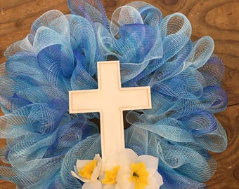 Blue Ombré Mesh Cross Wreath