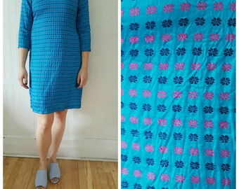 Vintage,indian kurta, dress, blue, embroidery, SMALL