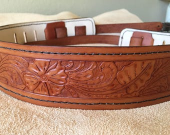 Leather Guitar Strap - Hand tooled Sheridan Style, Handmade