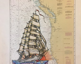 "Traditional Tattoo Flash tall masted ship on  nautical chart (8.5""X11"")"