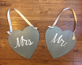 Mr. & Mrs.signs, wedding signs, wedding seat signs, Mr. and Mrs. Seat signs