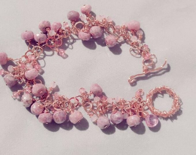 14k rose gold,  Pink sapphire,  beaded bracelet. Pink topaz beaded bracelet. Pink Silverite beaded bracelet. Pink gold rose gold