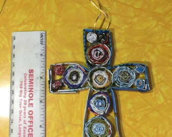 Recycled Magazine Cross Ornament