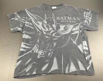 Vintage 1991 Batman Returns all over print t-shirt mens XL movie dc comics