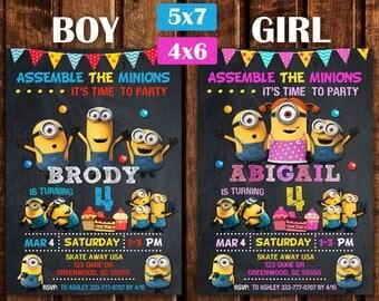 Minion invitation, Minion Birthday, Minion Party, minion birthday invitation, Minion Printable, Minions Birthday Party, Minion Card, Minion.