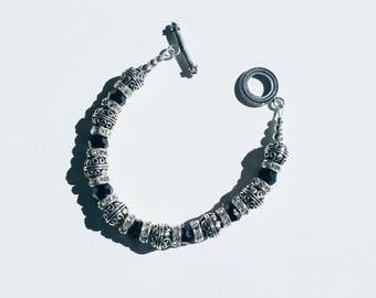 Sterling Silver Black Swarovski Beaded Toggle Bracelet