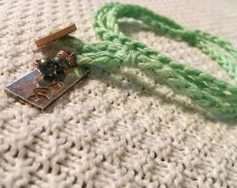 Mermaid charm crochet wrap jewelry, birthday gift for her, layering anklet, bracelet, necklace, seaside, wire wrapped, teal beads, woven