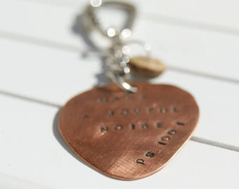 Copper key ring hand stamped guitar pick bag charm
