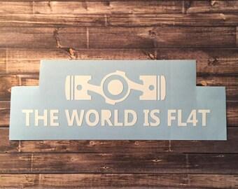 The World Is Flat   Subaru   Die-cut Decal