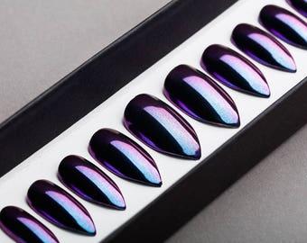 Purple and Blue Mirror Press on Nails | Nude Nails | Handpainted Nail Art | Fake Nails | False Nails | Unicorn Nails | Chrome nails