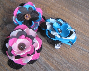 Blue and Pink Flower Hair Clips (set of 3)