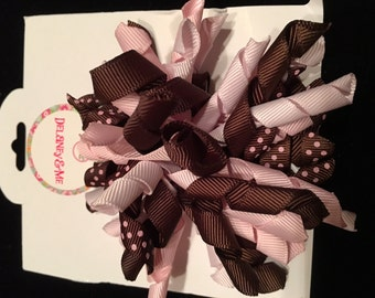 Brown/Pink Hairbow with Clip