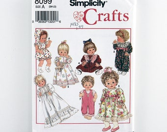 "Vintage Simplicity Crafts Pattern 8099 Wardrobe for Baby Dolls, Size Small (12""-14""), Medium (16""-18""), Large (20""-22"") Baby Doll Clothes"