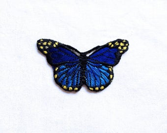 1X night blue butterfly romantic fashion Iron On Embroidered Patch Applique