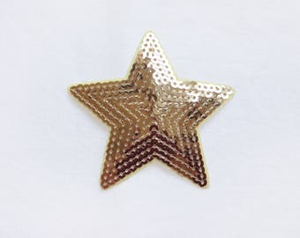 1x sequins gold glitter purple shiny star patch love burlesque Iron On Embroidered Applique